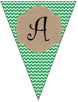 Christmas Green and Red Chevron Banner with Burlap