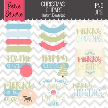 Christmas Greetings Clipart // Christmas Sayings // Holiday Greetings- Winter125