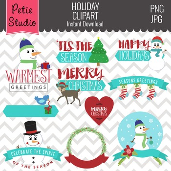 Christmas Greetings // Holiday Greetings // Snowman Clipart - Winter128