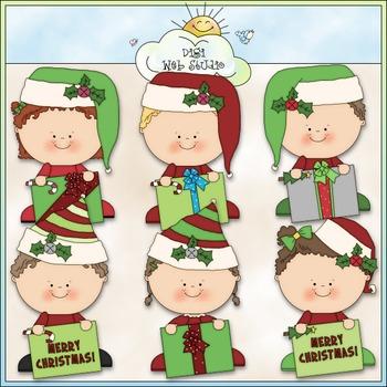 Christmas Greetings Kids Clip Art - Christmas Clip Art - CU Clip Art & B&W
