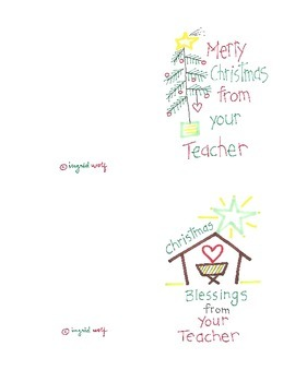 Christmas Greetings from your Teacher - cards and clipart by ...