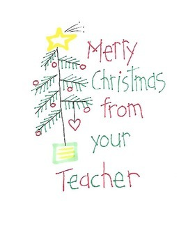 Christmas Greetings from your Teacher - cards and clipart