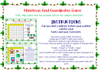 Christmas Grid Coordinates Game: Help Santa save the presents