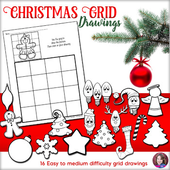 Christmas Grid Drawings - Easy to Med. Difficulty