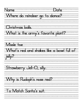 Christmas Handwriting Jokes