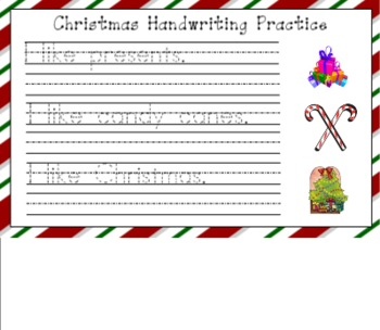 Christmas Handwriting Practice for SMART Board
