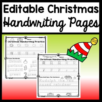 Christmas Handwriting Practice that is Editable! {Write Letters or Words}