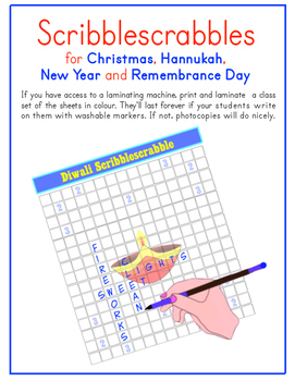 Christmas, Hannukah, New Year & Remembrance Day Scribblescrabbles (multilingual)