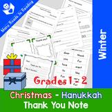 Writing Christmas Hanukkah Thank You Note Grades 1-2
