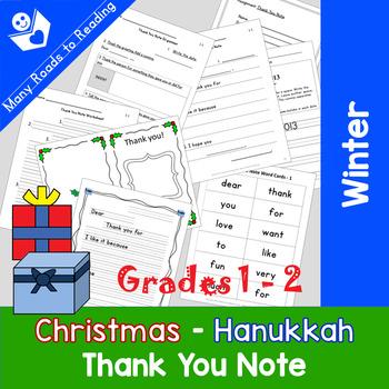 Writing Christmas/Hanukkah/Chanukah Thank You Note: Grades 1-2