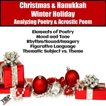 Christmas Activities Poetry Analysis & Acrostic Poem Writing