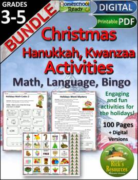 Christmas Hanukkah Kwanzaa  Math Language Bingo Bundle