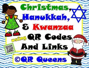 Christmas, Hanukkah & Kwanzaa Bundle Listening Center using QR Codes and Links