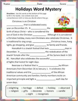 Christmas Hanukkah Kwanzaa Language Activities