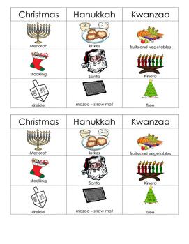Christmas Hanukkah Kwanzaa Picture Sort