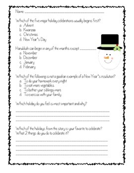 Christmas Hanukkah Kwanzaa and more Differentiated Reading Comprehension.