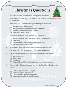 christmas comprehension activities free by rick 39 s resources tpt. Black Bedroom Furniture Sets. Home Design Ideas