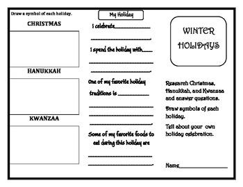 Christmas, Hanukkah, and Kwanzaa Trifold