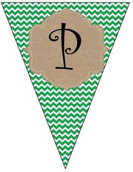 Christmas/Happy Holidays Green Chevron Burlap Banner