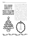 Christmas / Happy Holidays Word Search Puzzle / 1st Grade