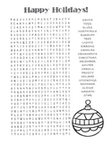 Christmas / Happy Holidays Word Search Puzzle / 4th Grade