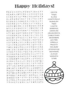 Christmas  Happy Holidays Word Search Puzzle  4th Grade by Kelly