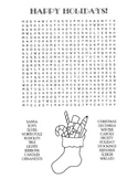 Christmas / Happy Holidays Word Search Puzzle / 3rd Grade