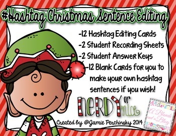 Christmas #Hashtag Editing Cards