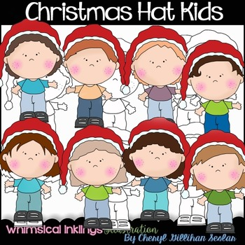 Christmas Hat Kids Clipart Collection