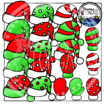Christmas Hats and Mittens Clipart Bundle