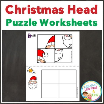 Cut and Paste Fine Motor Puzzles: Christmas Heads