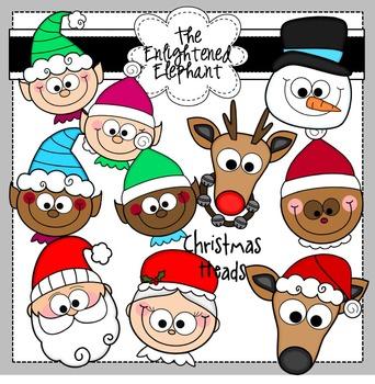 Christmas Heads Clip Art