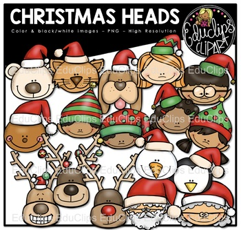 Christmas Heads Clip Art Bundle {Educlips Clipart}