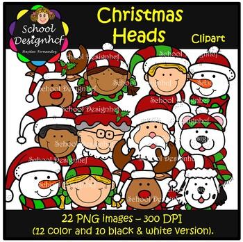 Christmas Heads - Clipart - Santa - Reindeer & Mrs Claus (School Desighcf)