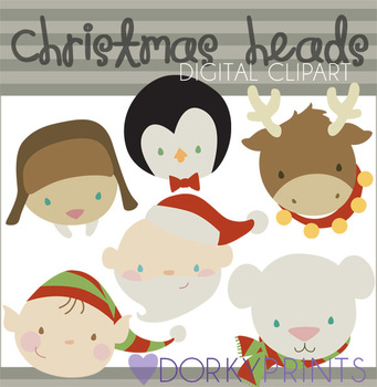 Christmas Heads Digital Clip Art