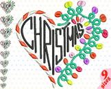Christmas Heart Embroidery Design Machine cute xmas ornaments light balls 145b