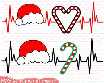 d326c65e15628 Christmas Heart Silhouette SVG Cutting Files clipart Santa hat 62sv