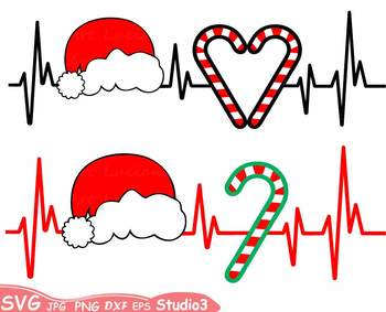 Christmas Heart Silhouette SVG Cutting Files clipart Santa hat 62sv
