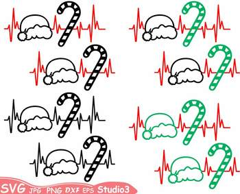 Christmas Heart Silhouette SVG Cutting Files clipart Santa hat outline 66sv