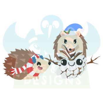 Christmas Hedgehogs Clipart   Instant Download Vector Art   Commercial Use