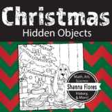 Hidden Objects - Basset Hound and Christmas Tree; Coloring Page