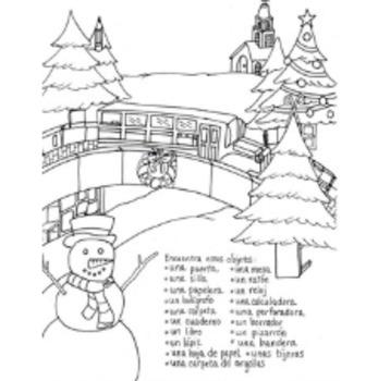 Christmas Hidden Pictures School Supplies Color Sheet