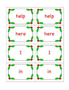 Christmas High Frequency Word Game Cards (Dolch: Pre-Primer List)