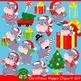Christmas Hippopotamus Clipart Set