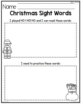 Christmas Sight Words Game