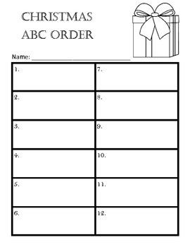 Christmas Holiday ABC Order