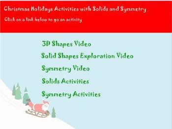 Christmas Holiday Activities with Solids and Symmetry