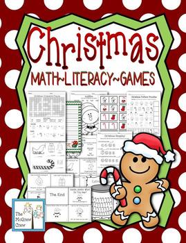 Christmas Holiday Activity Set K-1 Math Literacy Games Puz