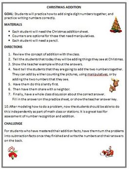 Christmas Holiday Addition Activity: Using Pictures to Add
