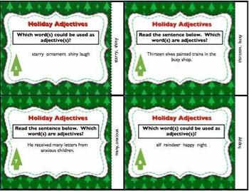 Christmas Holiday Adjective Task Cards